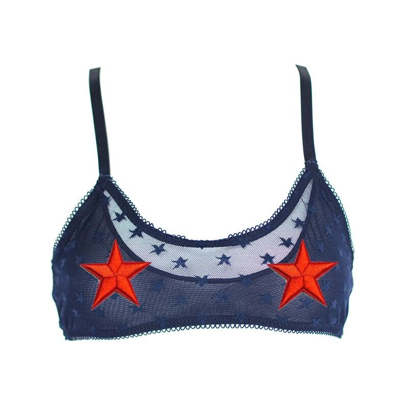b795fb8db27 Star Spangled Bralette Navy Blue Sheer Mesh Bralette with Red