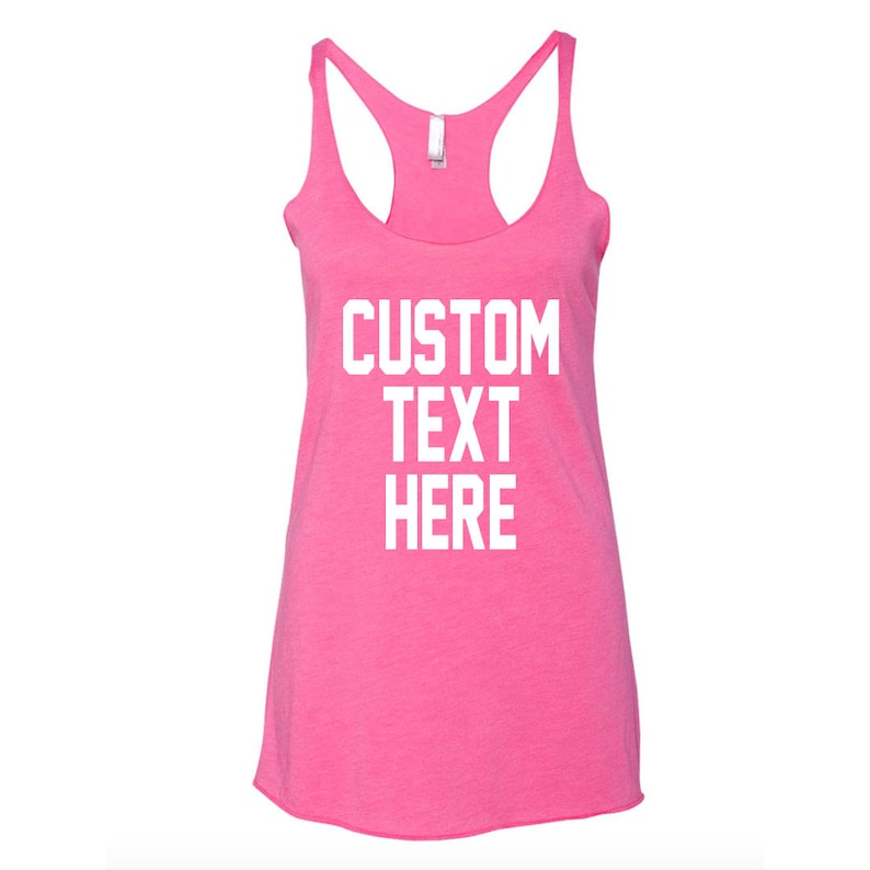 fcc4cafdab491 CUSTOM Text PINK Racerback Flowy or Crop Top Relaxed Tank Top- Lightweight  Pink Tank Tops- Bachelorette Party- Group Tanks- Custom Pink Tank