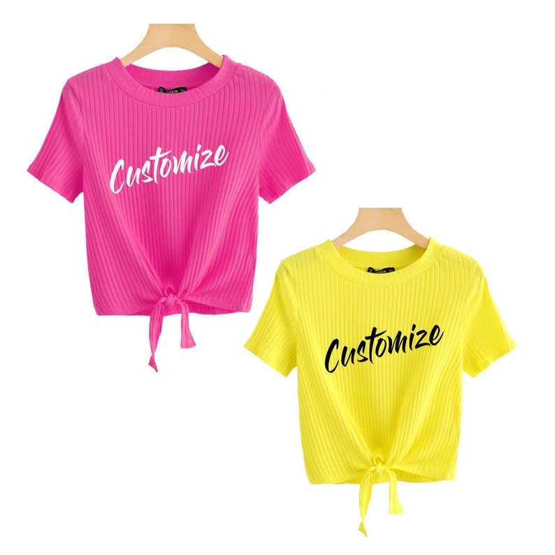 4c14d36964394 CUSTOM TEXTBright Yellow and Pink Tie Front Crop Top Short Sleeve Shirt-  Customize Bright Knot Front Trendy Top- Hot Pink Tie T-shirt Spring
