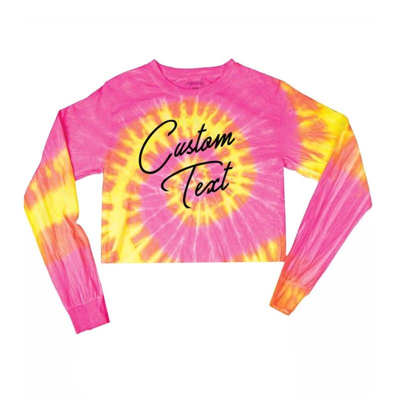 9921a8a8faa68 Custom Text Pink Multicolor Tie Dye Crop Top Long Sleeve Shirt- Customize  Tiedye Crop Top- Bachelorette Trendy Personalized T-Shirt Festival