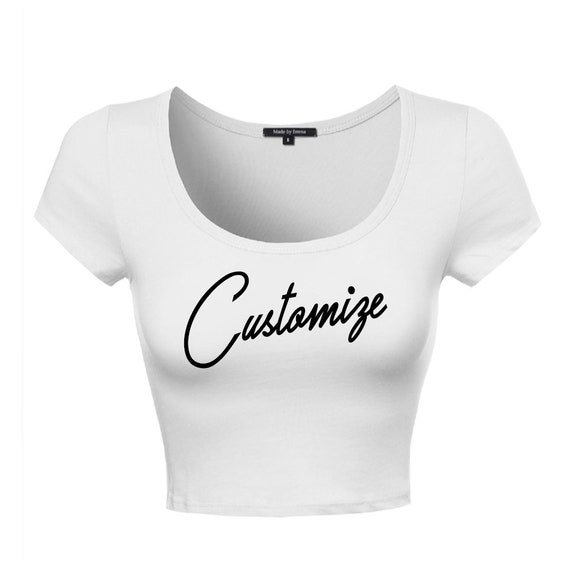 6e3457fc9a61c Custom Text White Scoop Neck Short Sleeve Crop Midi Top Shirt- Customize  Basic Front Top- Bachelorette Trendy Fun Personalized T-Shirt