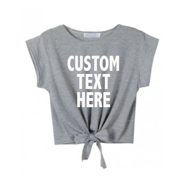 954522b12eb CUSTOM TEXT Tie Front Crop Top Short Sleeve Lightweight Shirt | Etsy