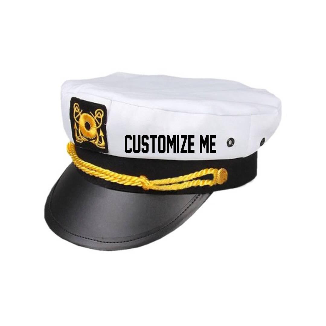 CUSTOM TEXT Captain Hat- Black White Gold Skipper Hat- Yacht Sailor  Customize or Personalize Sailor Captain Adjustable Snapback Hat- Skipper