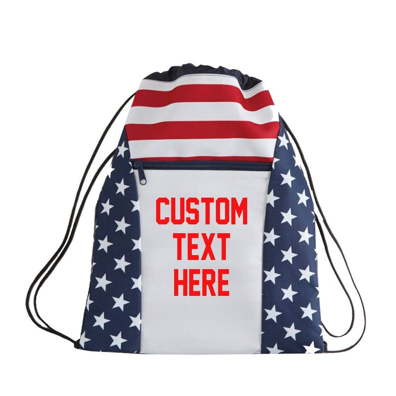 CUSTOM Red White and Blue Stars and Stripes Canvas Tote Drawstring Bag-  Design Your Own 4th of July Back Pack Bag- Reusable Fun Tote