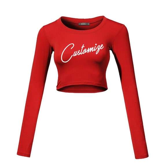 b01e94111ce33 Custom Text MANY COLORS Long Sleeve Crop Top Shirt- Customize Plain Crop  Top- Gift for Her- Bachelorette Girls Group Shirts- Sexy Crop Basic