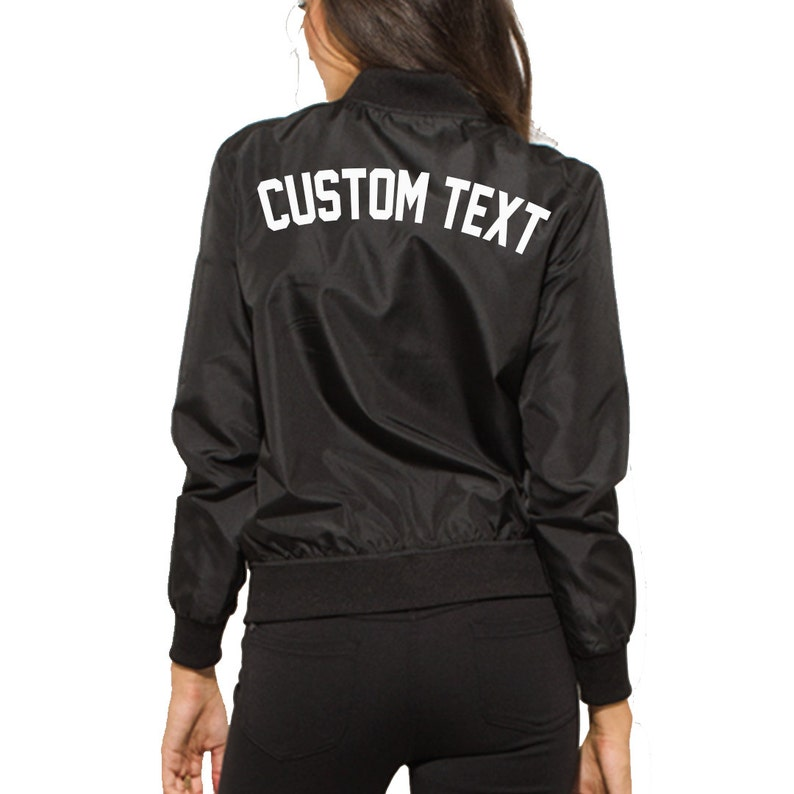 67bd341d1bd87 WOMENS CUSTOM Black Bomber Jacket- Long Sleeve Zip Up Black Bomber Jacket-  Classic Personalize Bomber Jacket- Custom Text- Bride Jacket