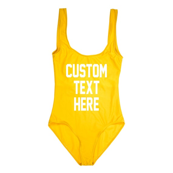 0a490e94a923b CUSTOM TEXT Yellow One Piece Swimsuit Create Your Own