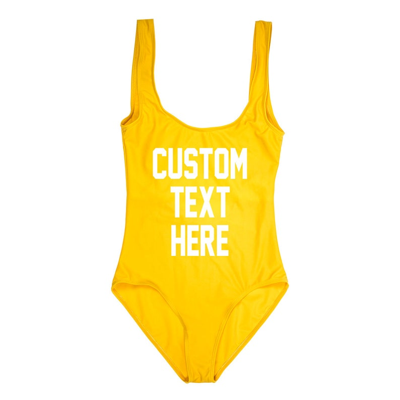 ba5f95dfd31a CUSTOM TEXT Yellow One Piece Swimsuit Create Your Own
