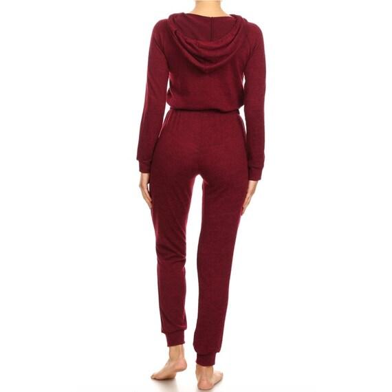 ca2900d14155 Custom Text Burgundy Hooded Zip Up Pajama Jumpsuit Custom One