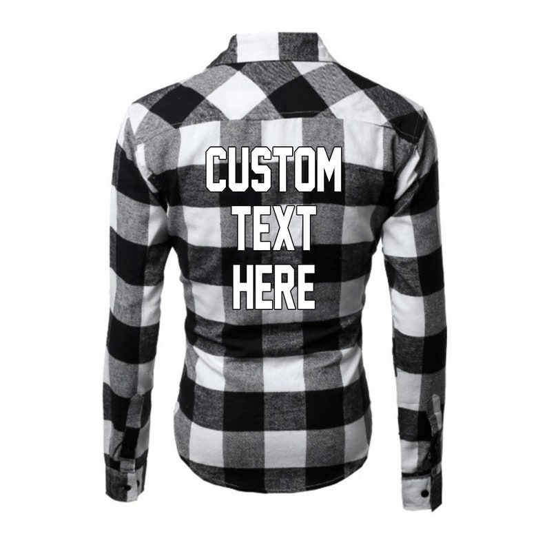 dab5779f5e33c CUSTOM TEXT Mens Black and White Plaid Long Sleeve Button Up Shirt-  Customize Your Own Plaid Shirt Personalized Mens Buffalo Plaid Shirt