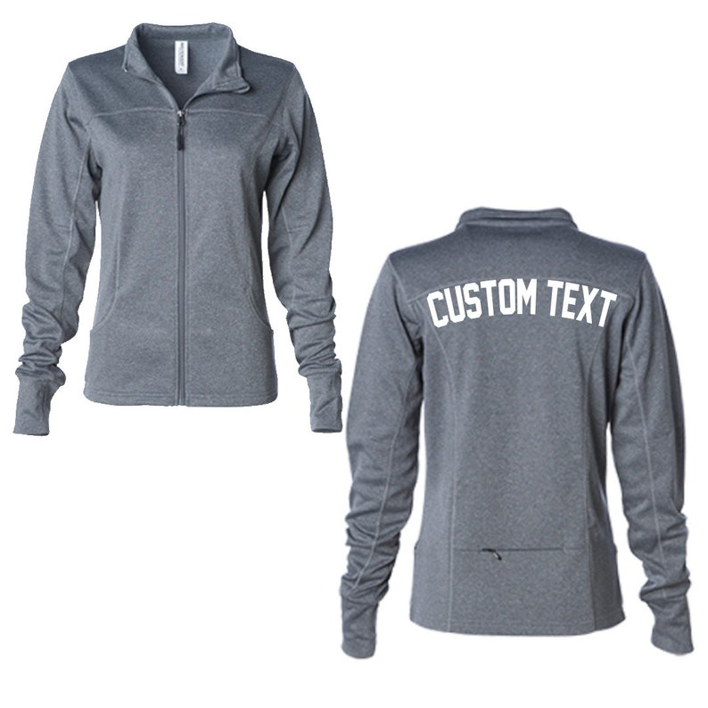 b1f6ad2fa4fd2 CUSTOM Women's Poly Tech Full Zip Track Jacket- Grey Sorority or Gym  Workout Soft Thumb Hole Jacket- Custom Text Jacket- Design Your Own