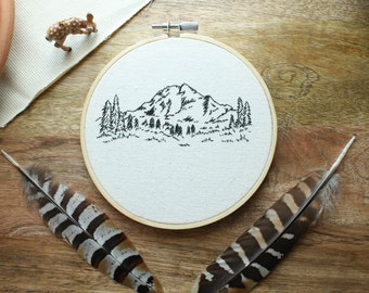 MADE TO ORDER - Mountain, Embroidery Hoop Art, Embroidery, Embroidery Art, Mountain Art, Hoop Art, Mountain Scene, Boho Decor, Unique Gift
