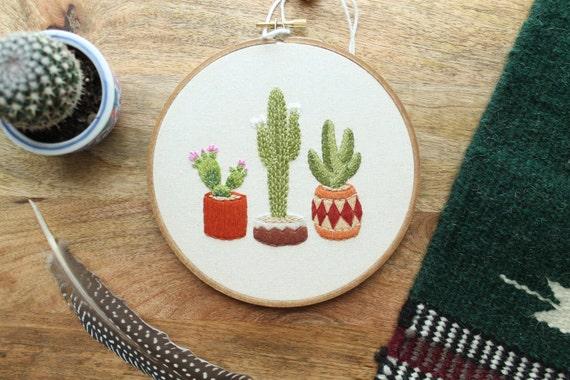 Made To Order Cactus Hoop Art Cactus Art Embroidery Hoop Etsy