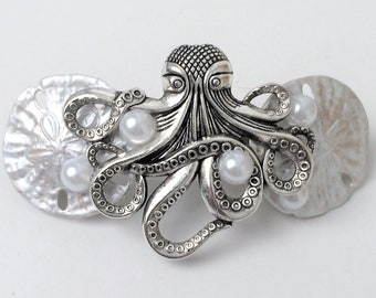 Octopus Hair Barrette, Sand dollar and Octopus