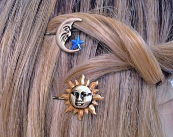 Hair Picks,Sun Moon Star Hair Bobby pins, Hair pins, Hair Picks