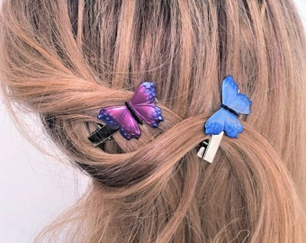 Butterfly hair Clips, Butterfly Hair Jewelry, Blue Butterfly, Purple Butterfly, 2 Alligator Hair Clips