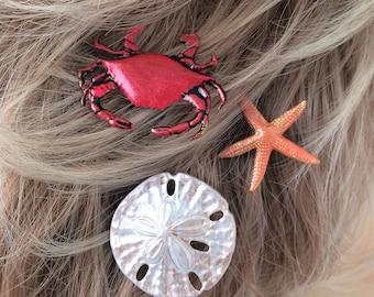 Bobby Pins sea shells, starfish, Crab, Sand dollar, 3 Hair pins