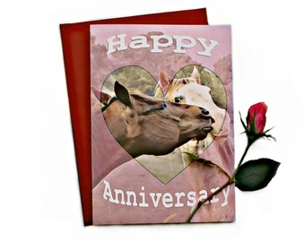 Anniversary Card - Horses in Love - for wife - for husband - for friends