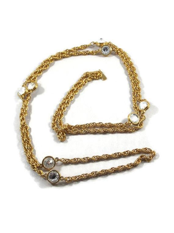 Swarovski Gold Tone Bezel Set Crystal Necklace, Sw