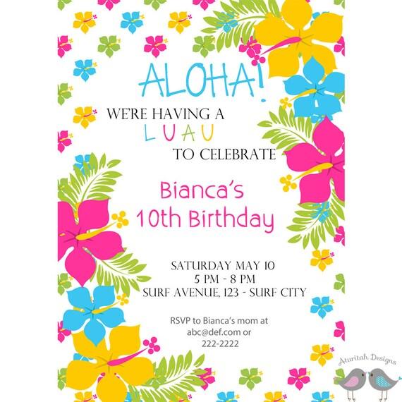 luau invitation printable luau birthday invitation summer etsy