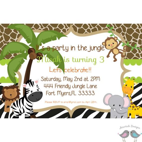 Printable Jungle Birthday Invitation Jungle Animals Invitation Jungle Birthday Party