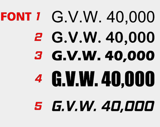G.V.W. Truck numbers 2 pack
