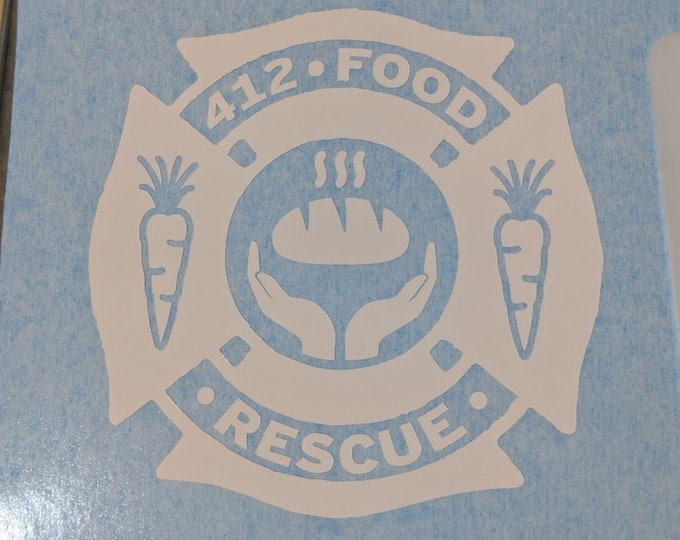 """412-Food Rescue Vinyl decal sticker 4"""" inches wide"""
