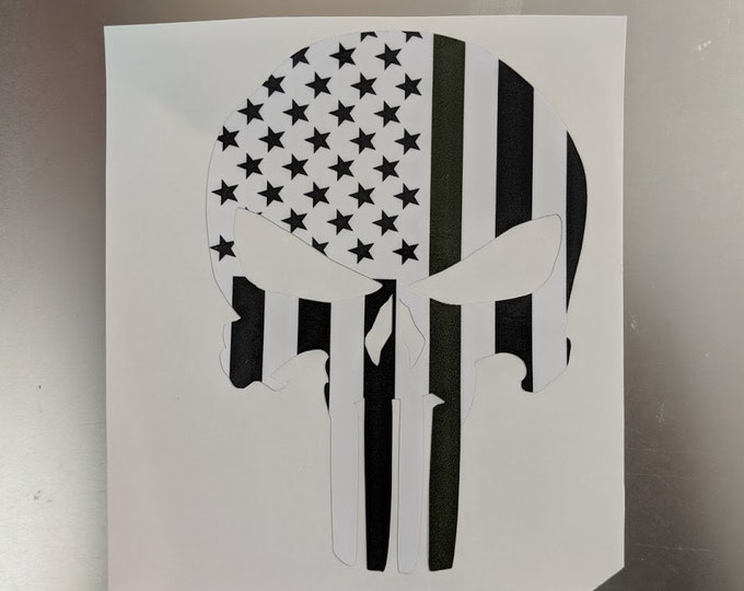 Punisher decal with Army green line vinyl decal sticker