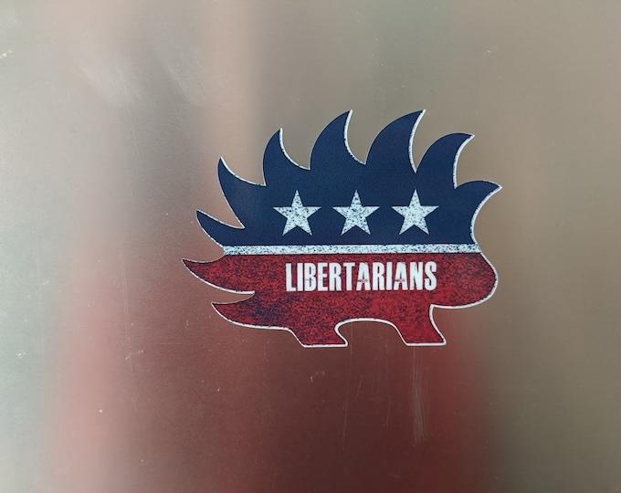 """Libertarian Porcupine vinyl decal sticker 4"""" x 3"""""""
