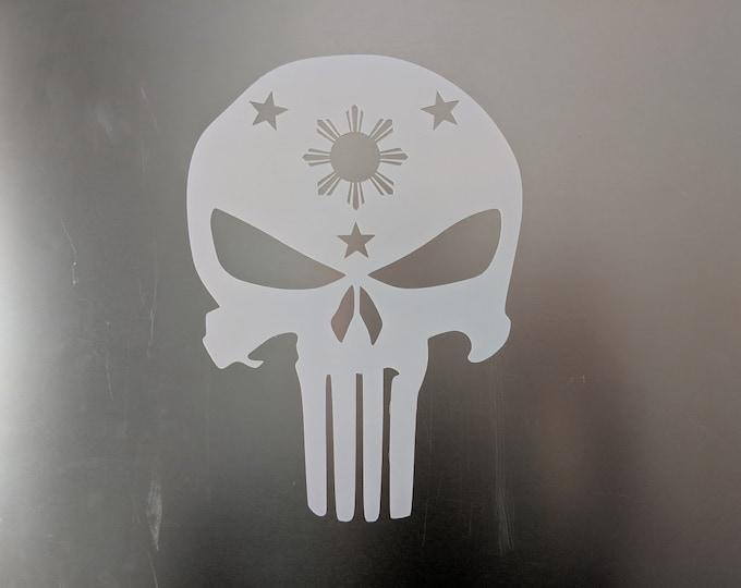 Philippine Filipino Flag Punisher Style Vinyl Decal
