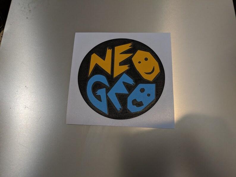 """NEOGEO Neo GEO NEO.GEO Gloss White Vinyl Decal Sticker 6/"""" wide x 1/"""" 4 pack"""