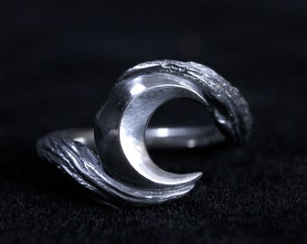Crescent Moon /'Phases Ring/' Sterling Silver Pagan Gothic Dark Witchy Occult Jewelry