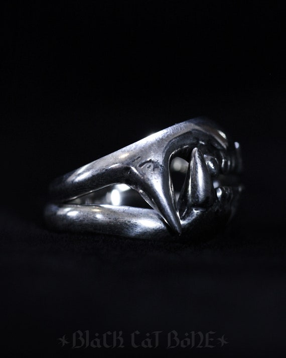 Double Raccoon Tooth Ring Sterling Silver Made to Order