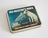 vintage 1980s His Master 39 s Voice Record Cassette Care Kit, HMV advertising tin box with Nipper the dog colletible retro decoration