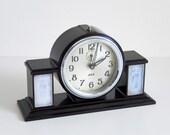 antique 1930s Jaz mantle clock in bakelite, reveil art deco alarm table desk clock with Lalique inspired glass panels, french nouveau style