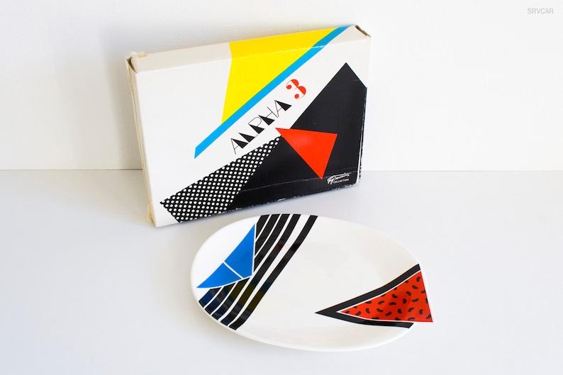 postmodern eighties design excellent condition vintage 1980s Kato Kogei Fujimori Alpha-3 serving plate platter old stock in original box