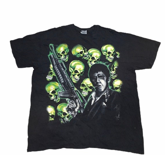 Rare Scarface Tony Montana Skull pile T shirt