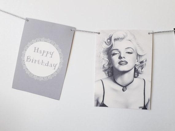 Personnalise Marilyn Monroe Joyeux Anniversaire Guirlande