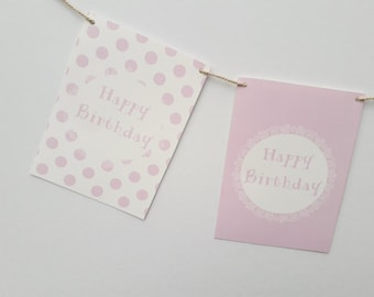 Personalised Pink Polka Dots Happy Birthday Party Garland 60th BIrthday Personalized Baby Girl First Birthday Kids Party Decorations