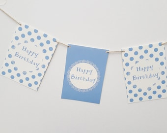 Personalised Blue Polka Dots Happy Birthday Party Garland 60th BIrthday Personalized Baby Boy First Birthday Kids Party Decorations