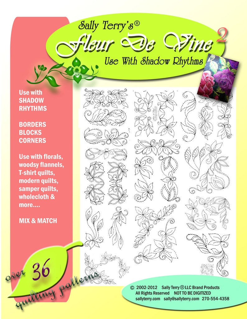 Printable 36 Patterns Free Motion Leaf Designs for Beginners Machine and Hand Quilting Patterns, Machine Quilting Pattern Pack Download