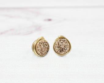 Druzy Earrings, Rose Gold Earrings, Bridesmaid Earrings, Stone Earrings, Wedding Jewelry, Gold Earrings, Sterling Silver, White, Blue,Bridal