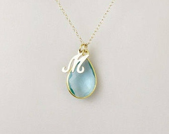 Gold Filled Birthstone Necklace, Gold Initial Necklace, Mothers Necklace, Aquamarine Necklace, March Birthstone Jewelry, Gemstone, Mom Gift