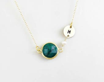 Initial Necklace, Birthstone Necklace, Custom Necklace, Emerald Necklace, Stone Necklace, Gold, Sterling Silver, May Birthstone Jewelry,