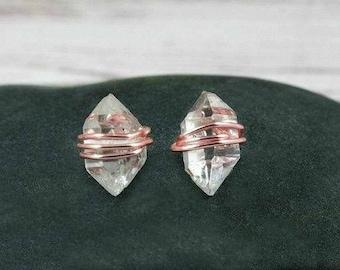 Herkimer Diamond Earrings, Herkimer Diamond Studs, Raw Crystal Earrings, Minimalist Earrings, April Birthstone, Raw Stone jewelry, Small