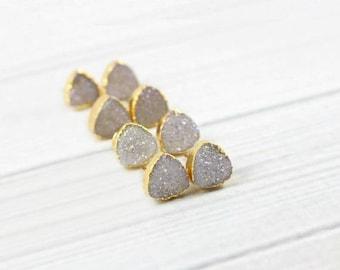 Druzy Stud Earrings, Druzy Earrings, Druzy Studs, Gold Earrings, Stone Earrings, Dainty Earrings, Small Earrings, Womens Gift, Triangle,Post