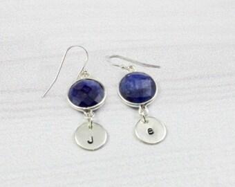 Initial Earrings, Personalized Earrings, Birthstone Earrings, Gemstone Earrings, Sapphire Birthstone jewelry, Sterling Silver, blue, gold,