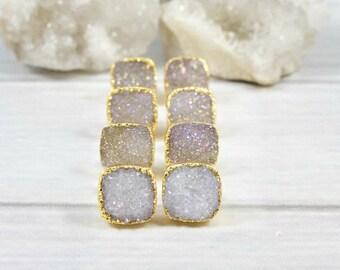 Druzy Earrings, Druzy Stud Earrings, Druzy Gold Earrings, Minimalist Stone Earrings, Druzy Bridesmaid Earrings, Minimal Earrings, Wedding