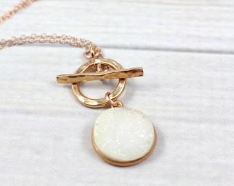Rose Gold Druzy Necklace, Druzy Necklace, Rose Gold Filled Necklace, Statement Necklace, Gemstone Necklace, Stone Necklace, Quartz Necklace,