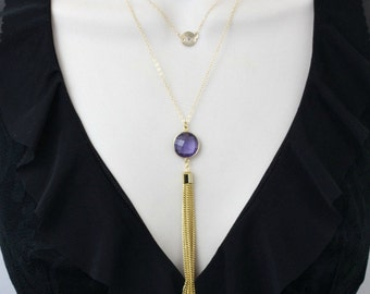 Layered Necklace, Gold Initial Necklace, Personalized Necklace, Amethyst Necklace, Layer Necklace, Long Necklace,February birthstone Jewelry